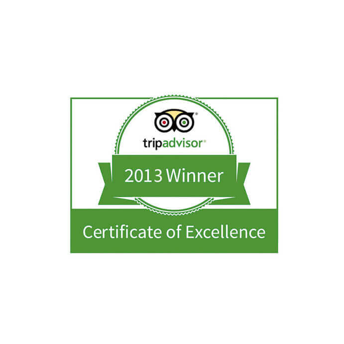 """Certificate of Excellence"" by TripAdvisor (2013)"