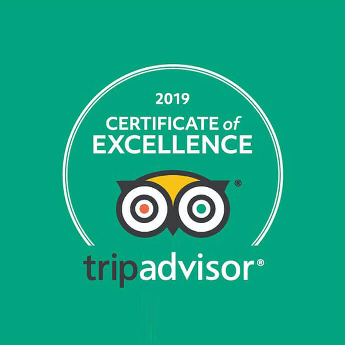 "Certificate of Excellence"" by TripAdvisor (2019)"