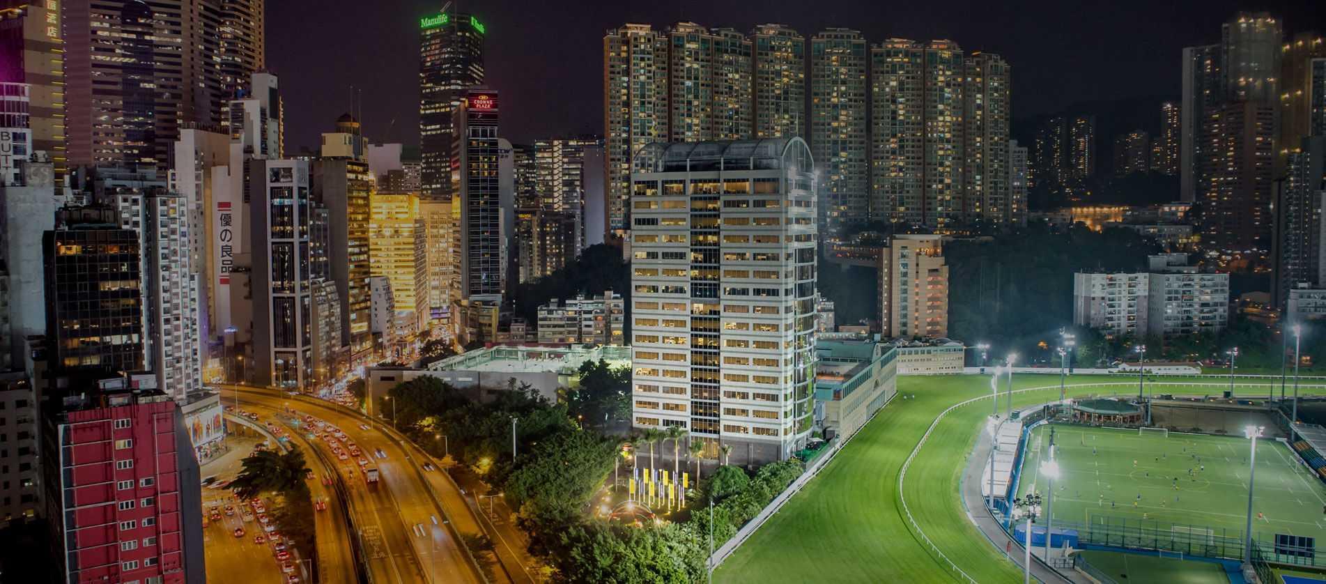 Busy streets at night in Wan Chai Hong Kong